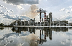 Panorama a refinery in a sunny day. HDR - high dynamic range