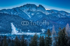 Giewont peak at dawn in Zakopane in winter, Tatra Mountains, Poland