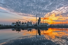 Oil refinery at sunset. HDR - high dynamic range