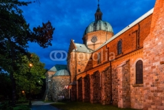 Church at night in Plock, Poland