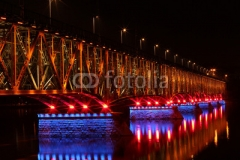 Illuminated bridge in Plock Poland
