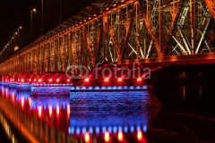Illuminated bridge in Plock, Poland