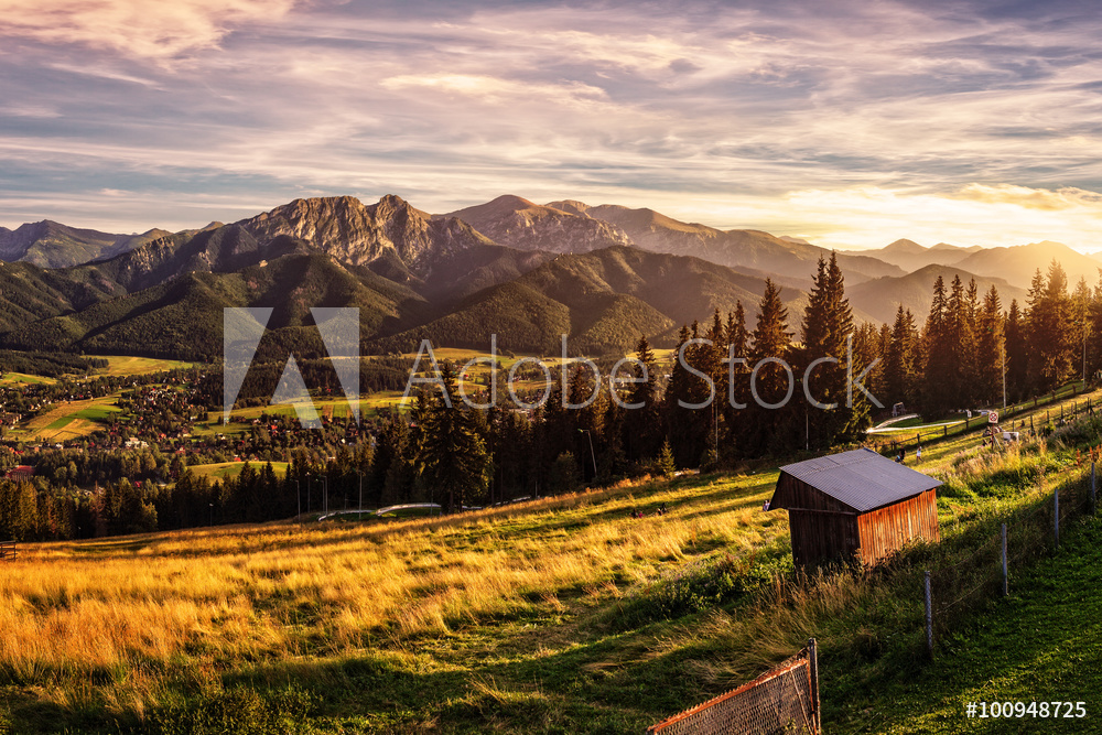 Gubalowka - view on panorama of Tatras at sunset, Poland.