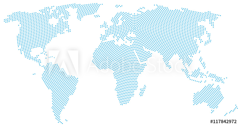 World map radial dot pattern. Blue dots going from the center outwards and form the silhouette of the surface of the Earth under the Robinson projection. llustration on white background.