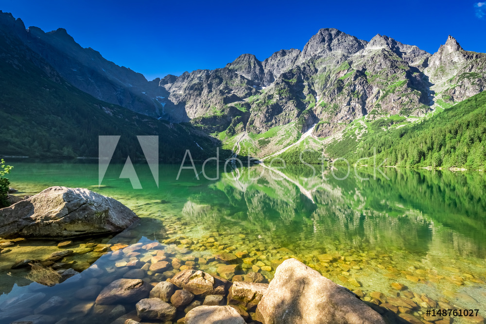 Lake in the mountains at sunrise, Poland, Europe