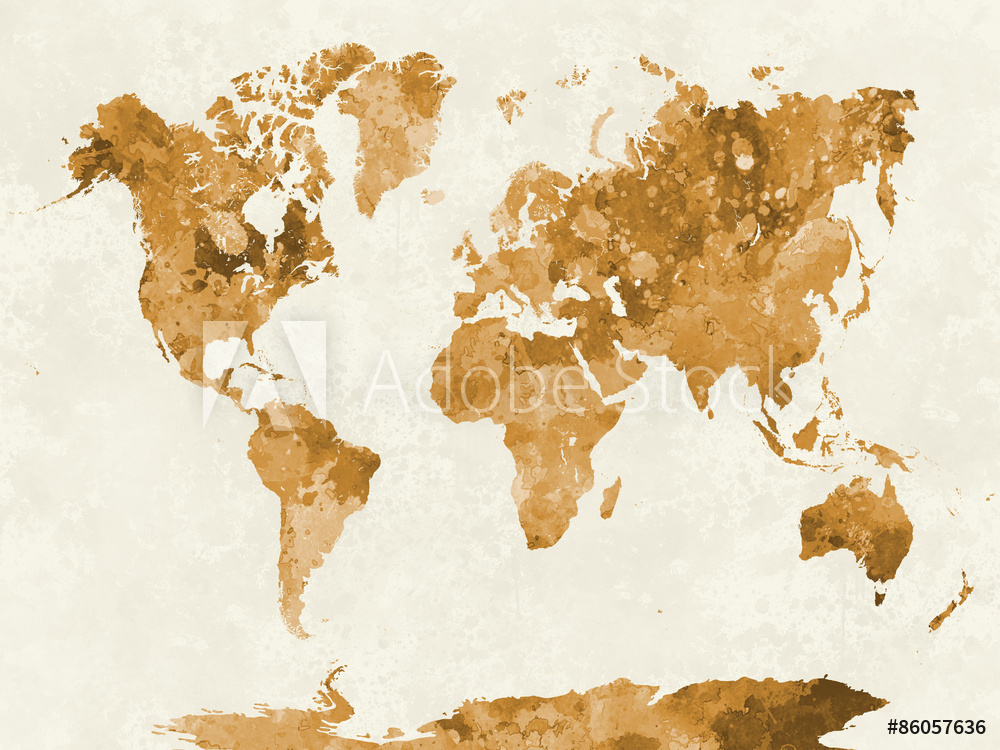 World map in watercolor orange